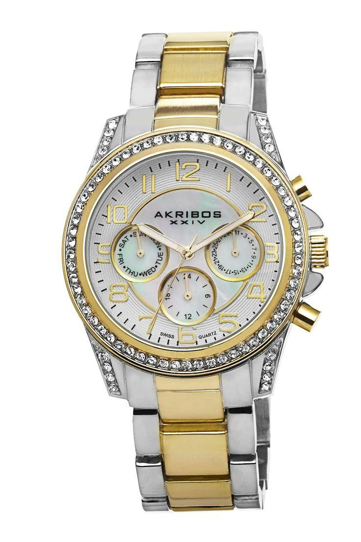 Akribos Akribos XXIV Women's Swiss Multifunction Crystal Bracelet Watch   Nordstrom Rack
