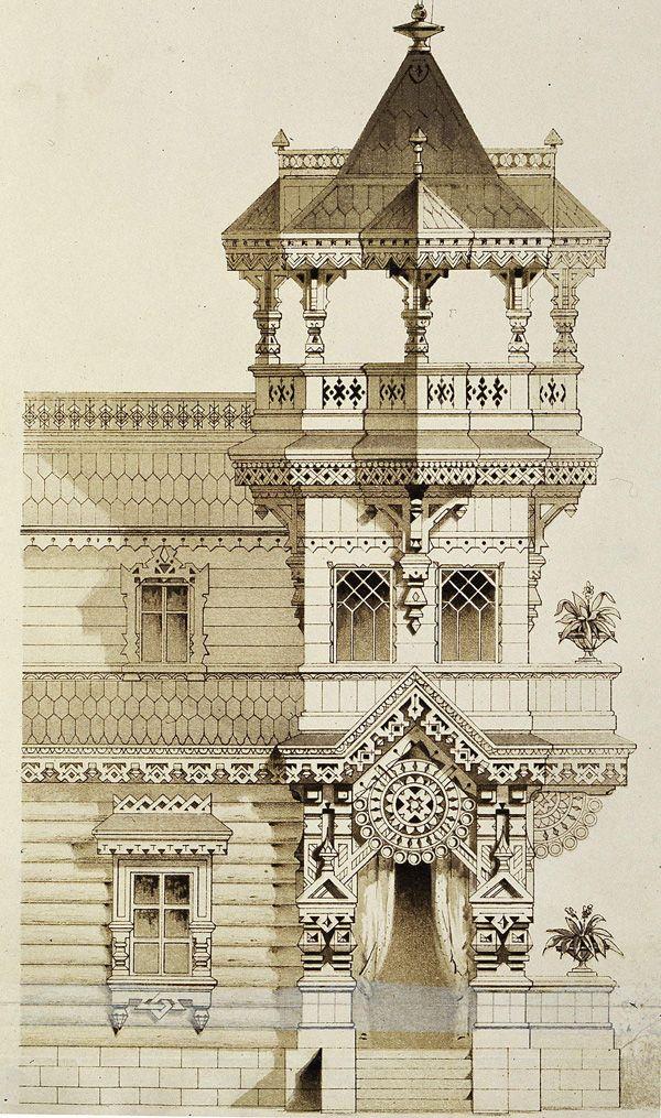 Фрагмент фасада загородного дома | Деревянная архитектура и деревообработка
