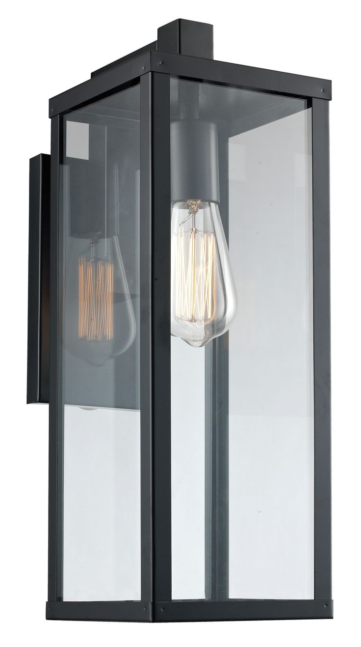 """Features: -Number of lights: 1. -Clear glass. -Rectilinear frame. Style (Old): -Industrial. Finish: -Black. Fixture Material: -Metal. Dimensions: Overall Product Weight: -1 lbs. Size 22.5"""" H x"""