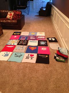How to make a T-shirt Quilt. All my old, torn, well loved