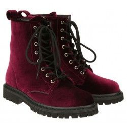 Burgundy Velvet Suede Lace Up High Top Punk Rock Gothic Military Combat Boots Shoes