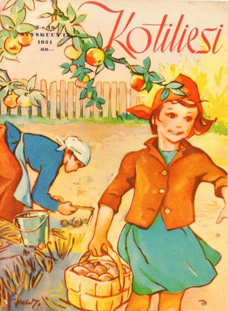 Kirpputorilöytö: erinomaisessa kunnossa oleva Kotiliesi vuodelta 1951 (nro 18, Syyskuu II, 1951). Kannen ihanan nostalginen kuvitus Martta Wendelin.