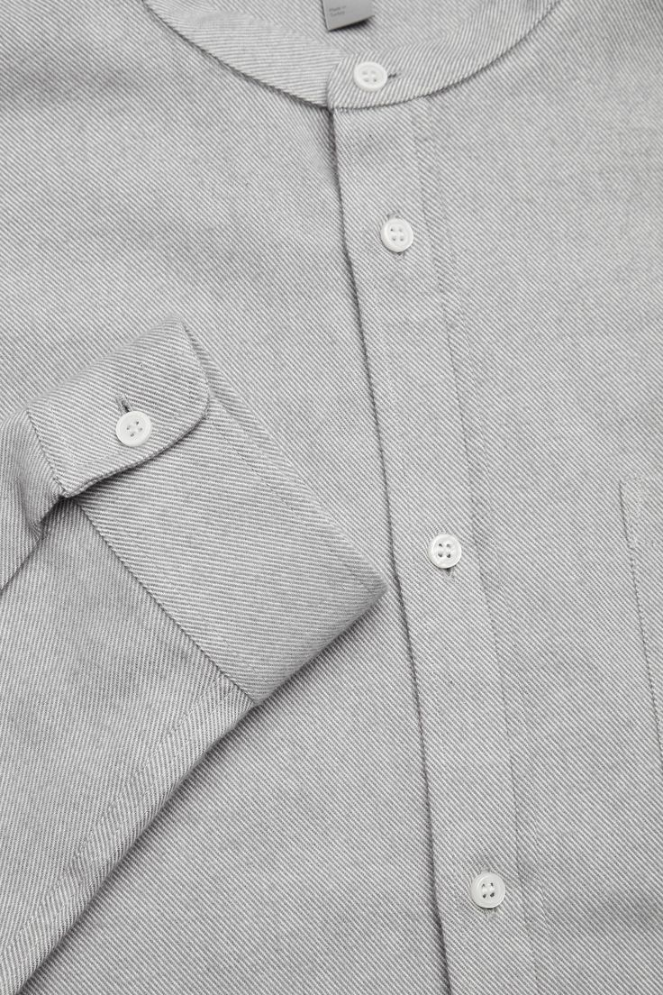COS image 7 of Grandad collared flannel shirt in Light Grey