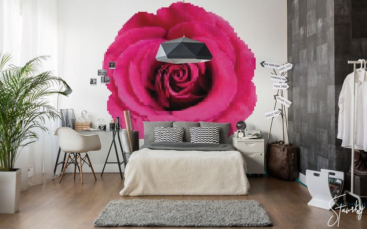 To be honest I'm not a big fan of flowers but this pixelated rose is a whole different story :)  #stawsky #design #murals #wallswork #tapetomat #wallpaper #wallpapers #designer #artist #floral #flowers #fashion #decorate #easter #wall #walls #vintage #retro #loft #rose #comingsoon #nature #art #holidays #spring #home #house #interior #interiordesign