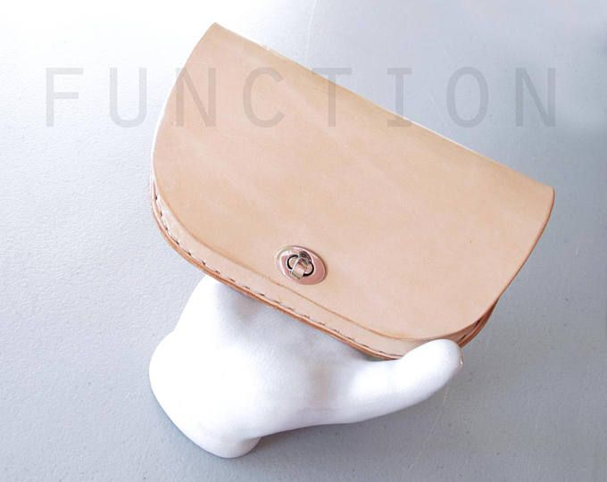 Minimalist Leather Wallet, Nude Leather Clutch, Hand Stitched Leather Goods, Veg Tan Leather Accessories, Simple Clutch, Gift for Her