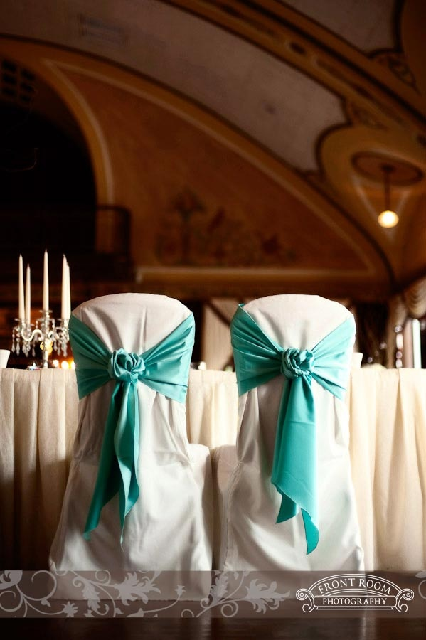 Wedding Chair Covers, Teal. Photo by: FRP