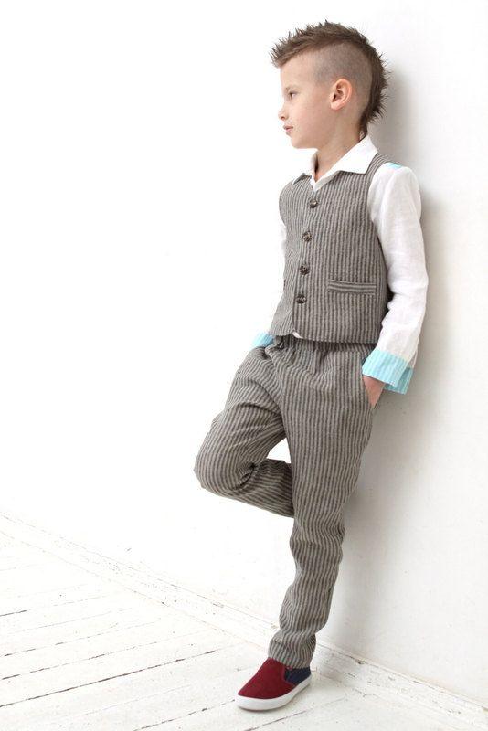 Anneau porteur tenue parti tenue bambin garçon gilet et pantalon garçons lin…