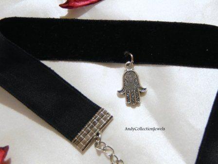 Charming Women's Black Wide Velvet Choker with Silver-Tone Tibet Hamsa Pendant