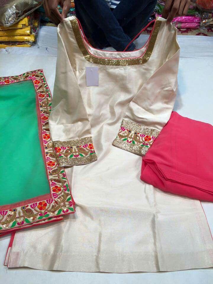 White green pink salwar suit