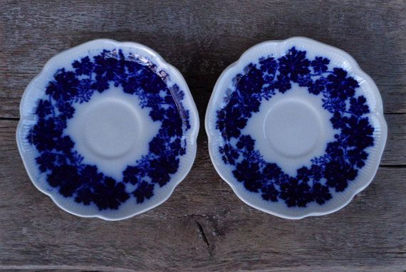 Swedish Vintage Flow Blue China Saucers Pair of Saucers by