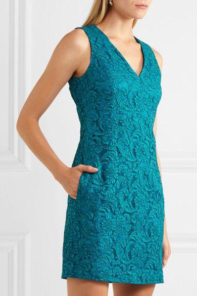 Adam Lippes - Corded Cotton-blend Lace Mini Dress - Turquoise
