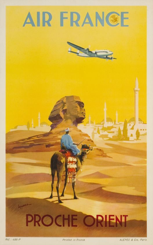Air France - Proche Orient (Middle East) vintage travel poster
