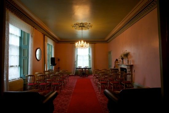 Wedding Ceremony setup in the Victorian Room