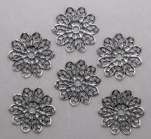 X2114 Antiqued SS P Round Open Filigree Connector 48 PC Lot Qty Disc | eBay