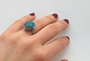 Handmade Unique Silver Ring Turquoise Stone Rock Burning Man Love Retro | eBay