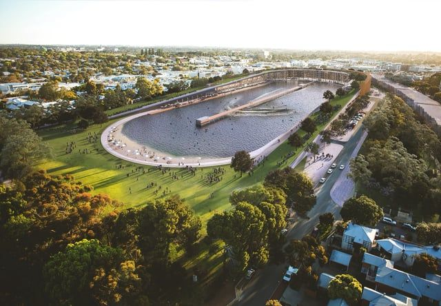 A visionary concept for the redevelopment of Subiaco Oval incorporating enhanced parklands, residential apartments, permanent markets, and a Wavegarden surf park..