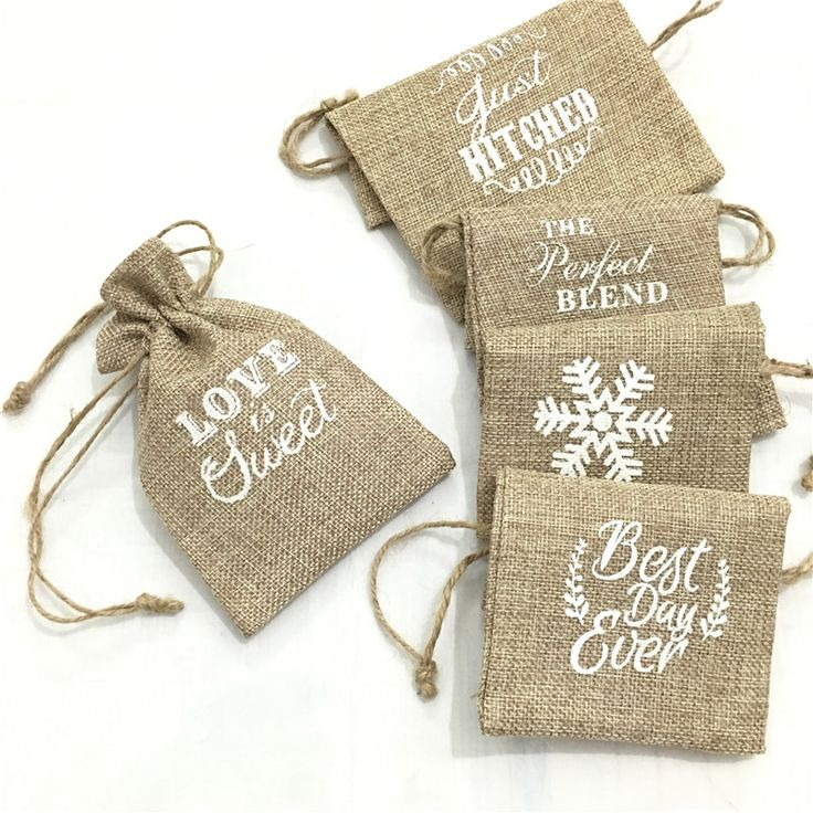 5 pieces Vintage Burlap Jute Sacks Weddings Party Favor Drawstrings Gift Bags Wrapping AA8060 #Affiliate