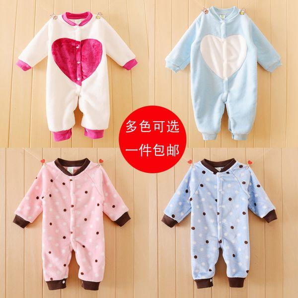 Свободная перевозка груза падения и зимней одежды с длинными рукавами купальника ребенка ползунки новорожденного ребенка фланелевой пижаме белье моделирования одежды