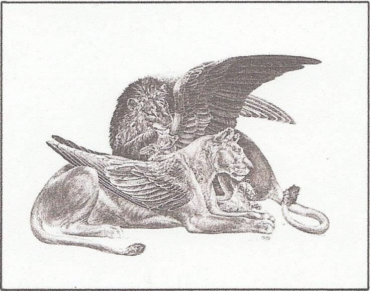 Winged lion tattoo - photo#11