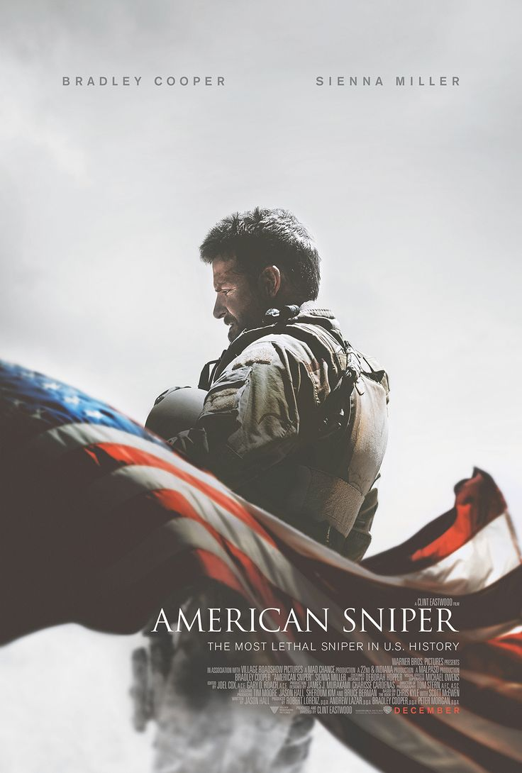 American Sniper is a 132 minute Clint Eastwood film starring Bradley Cooper and Sienna Miller. Navy SEAL sniper Chris Kyle's pinpoint accuracy saves countless lives on the battlefield and turns him into a legend. Back home to his wife and kids after four tours of duty, however, Chris finds that it is the war he can't leave behind. It releases in limited areas on Dec. 25.  http://en.wikipedia.org/wiki/Chris_Kyle