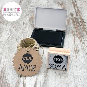 "Sello ""Con Amor"". € 7.50. www.be-happy.es. #sellosdecaucho #rubberstamp #design #decoracion #handmade #stamp #stamps #sellodecaucho #scrapbooking #scrap #scrapbook #DIY"