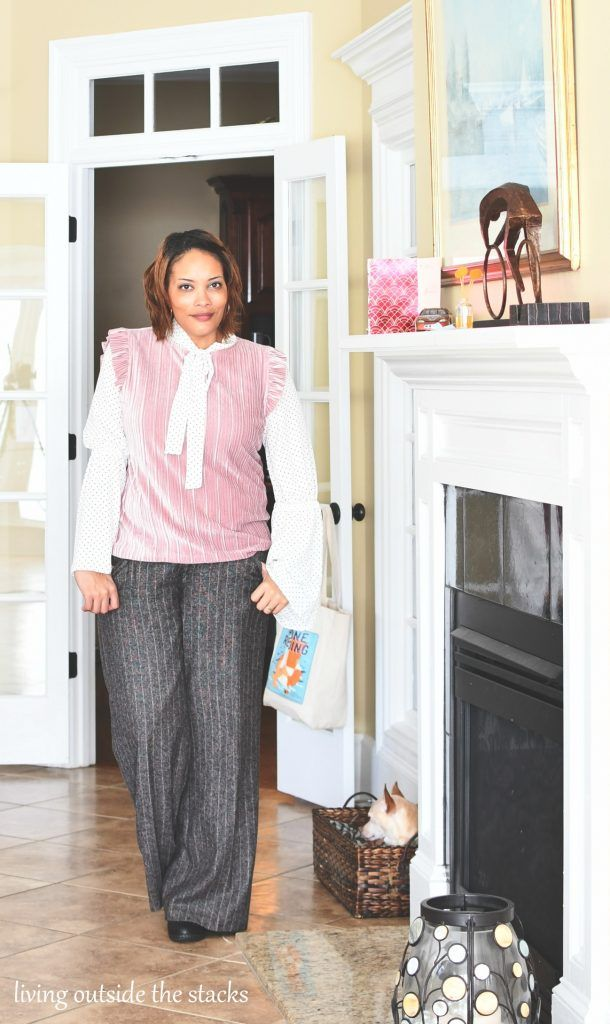 Pink Pleated Velvet Top with Polka Dot Blouse and Tweed Pants {living outside the stacks}  #livingoutsidethestacks #librarian #librarianstyle #teacher #teacherstyle