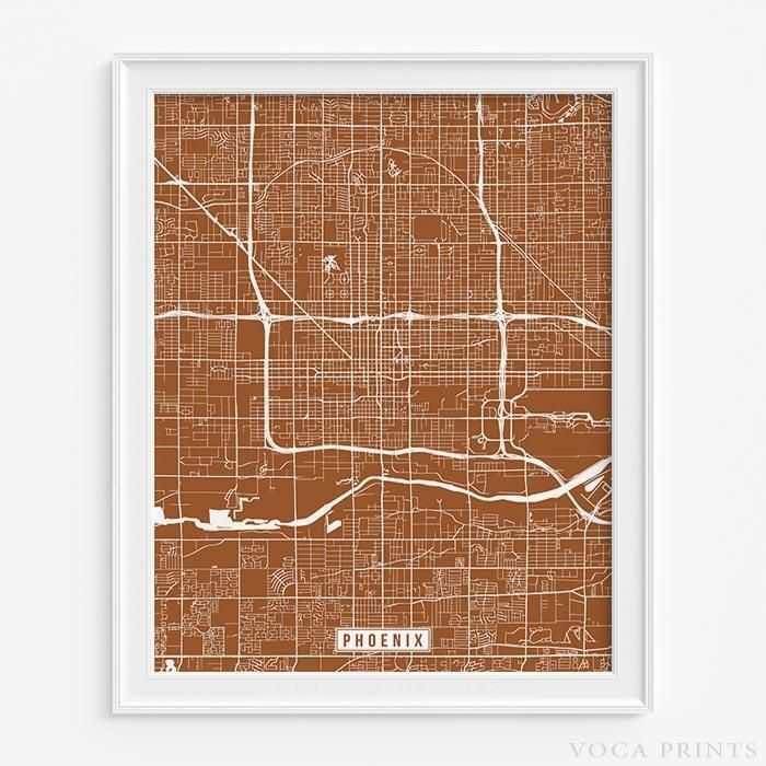 PHOENIX, ARIZONA Street Map Wall Art Poster. Starting at $9.90 with 42 color choices at VocaPrints.com - #streetmap#map#homedecor#wallart #PHOENIX #ARIZONA