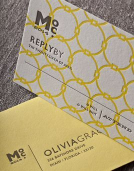 CABANA | Umi 2, Letterpress Reply Cards | Elum Designs, Letterpress Stationery, Invitations & Curator of Designer Paper Goods. Nothing short of small works of art. Yellow and gray wedding. Inspired by Mid-Century and Hollywood Regency textures and patterns, playfully modern, sunny poolside oasis, bold simplicity, rsvp: