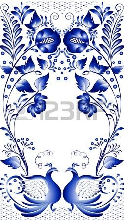Blue floral pattern in gzhel style  Russian national ornament with the birds at the bottom  Vector illustration