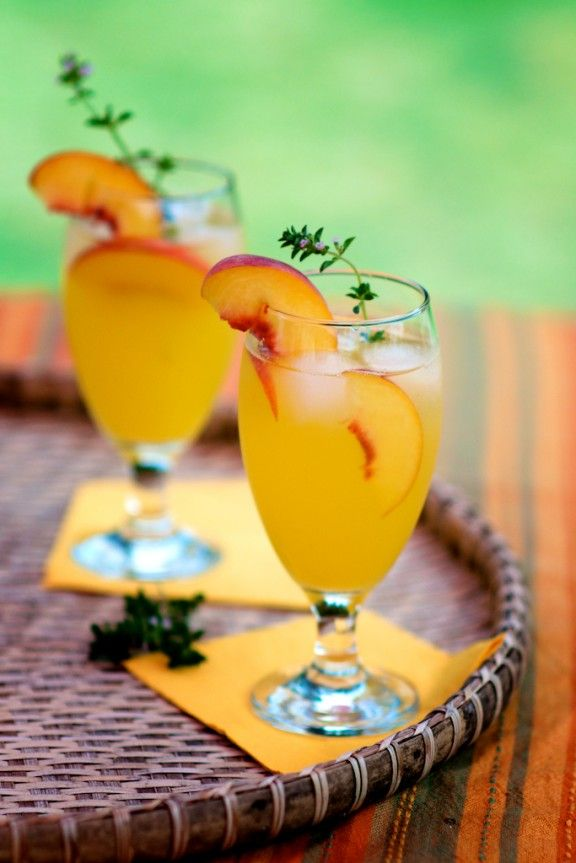 Peach cooler. Summer drink with peach puree, OJ, simple syrup and club soda. Add gin for 21+ crowd!