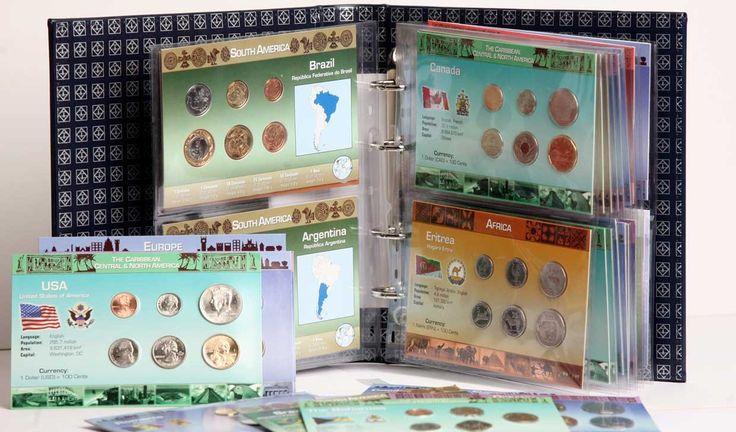 DINERO DEL MUNDO  Increíble colección de las monedas de todos los países del mundo entregadas por sets de cada país en blister con la información correspondiente.