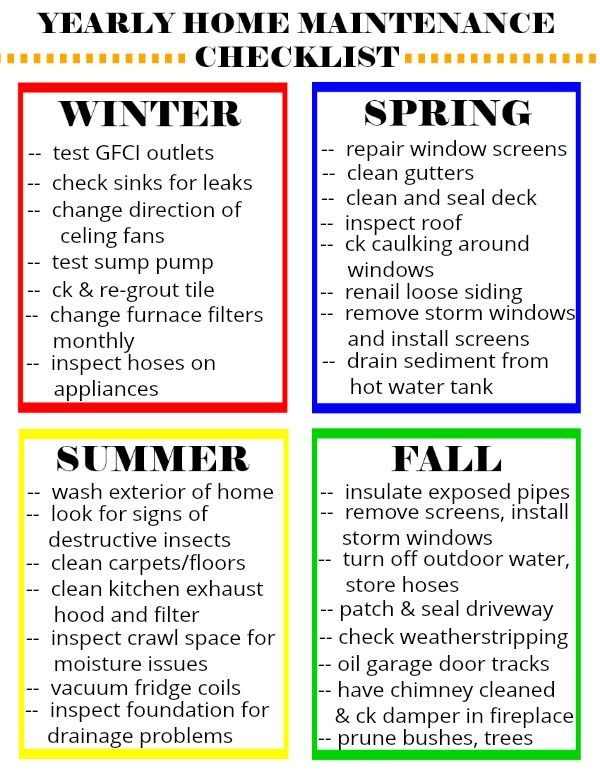 Yearly Home Maintenance Checklist Yearly Home Maintenance Checklist Bookshelfdecor Ch In 2020 Home Maintenance Checklist Home Maintenance Maintenance Checklist