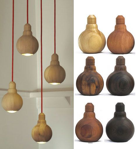 "These wooden ""bulb"" pendants were first pictured on Apartment Therapy in 2010, from a company called Animal Farm. But nobody could figure out its website or how to get to the pendants. Still love the idea and the different wood options."