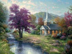 Thomas Kincade  LOVE!!Country Church, Thomas Kincaid, Living Water, Thomas Kinkaid, Kinkade Art, Thomas Kincade, Thomas Kinkade, Art Painting, Oil Painting
