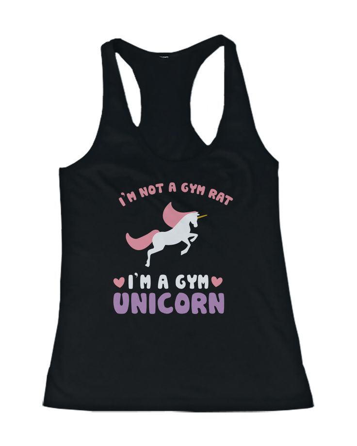 "Do you rarely make an appearance at the gym? If so, you'll love our Gym Unicorn tank top! This black workout tank has a colorful unicorn image printed on the front of it along with the funny quote ""I'"