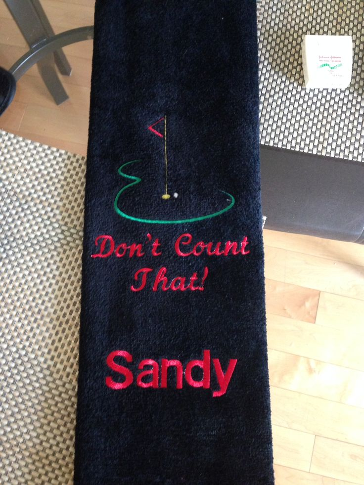 Custom Golf towel made by Bernie.  Available on Etsy Etsy.com/ca/shop/creationsbybernie