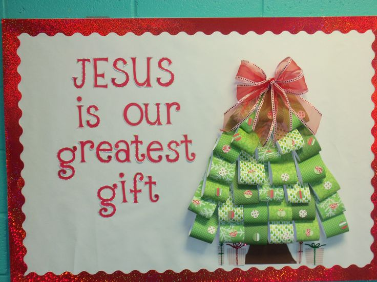 Christmas bulletin board. would love to do this with gifts instead of a tree