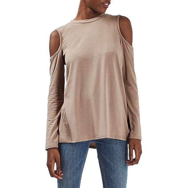 Women's Topshop Cold Shoulder Tee ($28) ❤ liked on Polyvore featuring tops, t-shirts, camel, slouchy tee, brown t shirt, cold shoulder tee, draped tops and cut-out shoulder tops