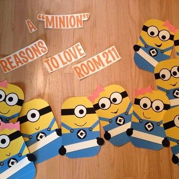 """Why not start the year off with a bulletin board of these little guys.  This product includes:* 14 different minions, 7 boys and 7 girls* The title """"A """"Minion"""" Reasons to Love . . . """" and then the words grade and room are included as well as the numbers 0-9 to create your own title.  (Mine says """"A """"Minion"""" Reasons to Love Room 211"""")* Each minion is holding a sign to put a students name on."""