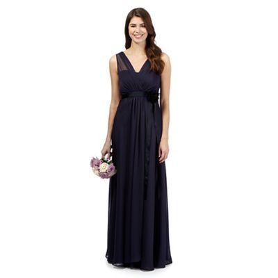 Debut Navy corsage detail maxi evening dress- | Debenhams