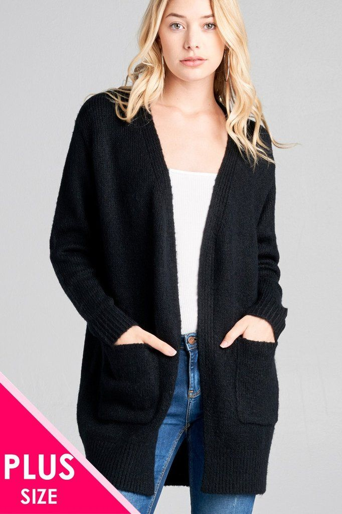 Ladies fashion plus size long sleeve open front w pocket tunic sweater  cardigan a7fdcbc3d