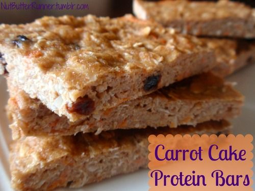 Healthy carrot cake protein bars under 100 calories! @Claire Larat Butter Runner