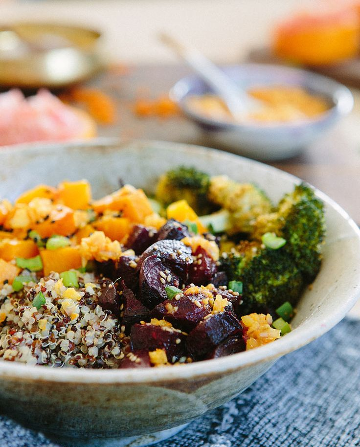Goodness Bowl #2 via A House in the Hills (wuinoa broccoli pumpkin beets w/ ginger turmeric citrus dressing