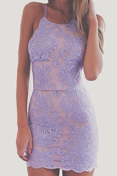 Wheretoget - Light pink bodycon scalloped halter top dress with purple lace