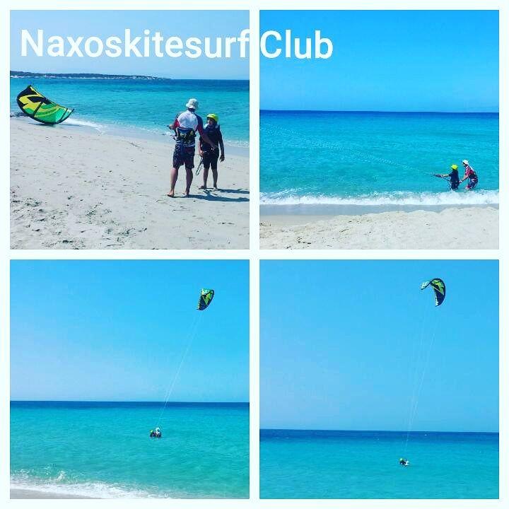 Children, adults from zero to hero, having fun learning Kitesurf at Glyfada Beach Naxos.