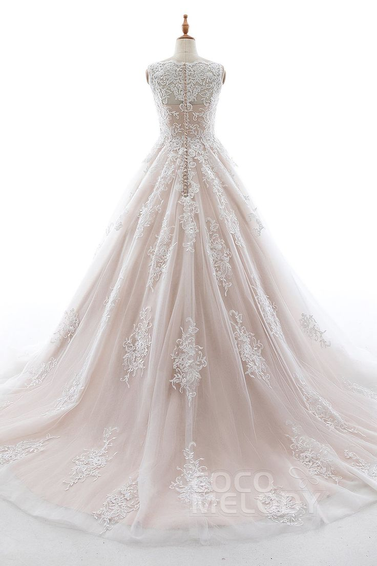 Charming A-Line V-Neck Natural Court Train Elastic Satin and Tulle Sleeveless Zipper With Buttons Wedding Dress with Appliques #LD5565  #weddingdress #cocomelody #customdresses #bridalgowns #dreamdress #alinedress