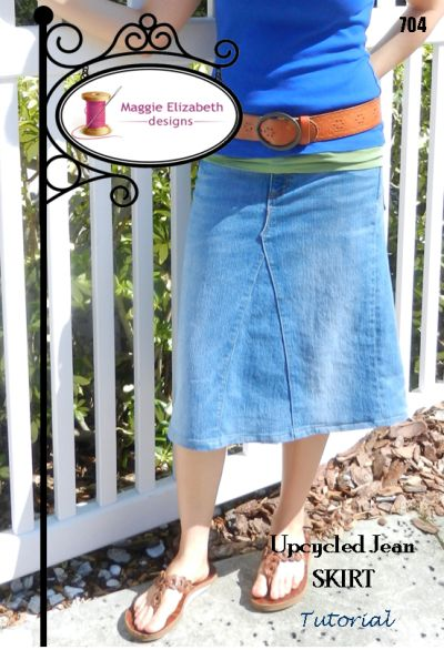Upcycled Jean Skirt Tutorial I already do this, but for all my friends who want to know how....