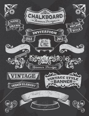 Chalkboard Design Elements. Frames and banners Royalty Free Stock Vector Art Illustration