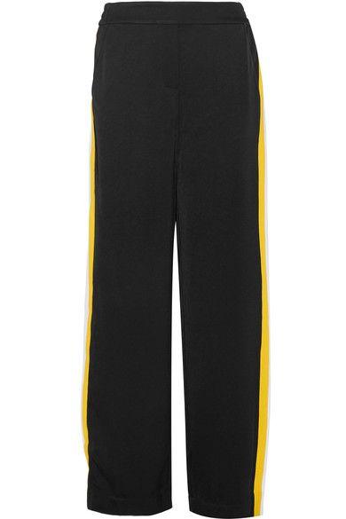 Ellery - Reality Stretch Knit-trimmed Satin-crepe Wide-leg Pants - Black - UK10