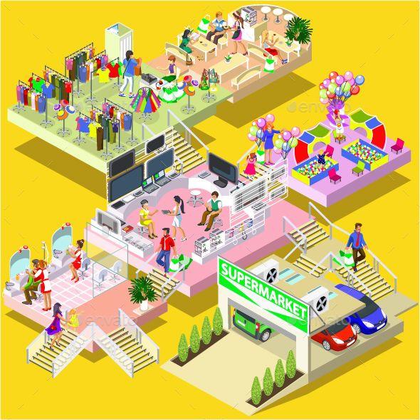 Isometric Shopping Mall by alexdndz Flat 3d isometric multistory shopping mall concept vector. Store, parking, beauty salon, entertainment room for children, restaura